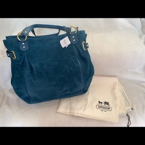 Coach Blue Suede NS Tote with GHW